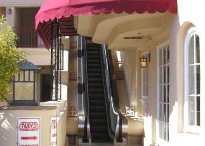 Red Awning over Escalator Walkway