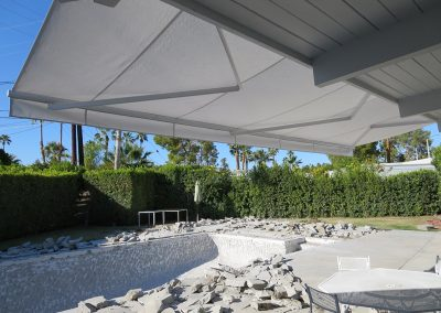 White Retractable Roof Mount Awning
